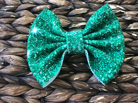 Cactus Green Glitter Big Fabric Bow