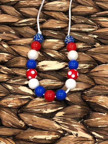 Red, White, Blue Small Bead Necklace