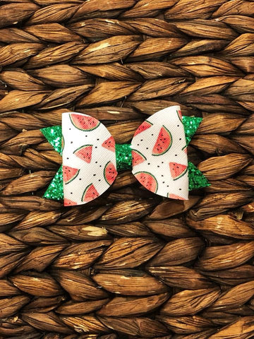Watermelon Glitter/Faux Leather Elizabeth Bow