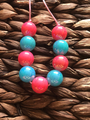 Neon Pink/Light Blue Glossy Chunky Bubblegum Necklace