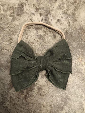 Olive Green Mini Messy Bow