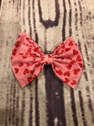 Pink red glitter hearts Fabric Bow