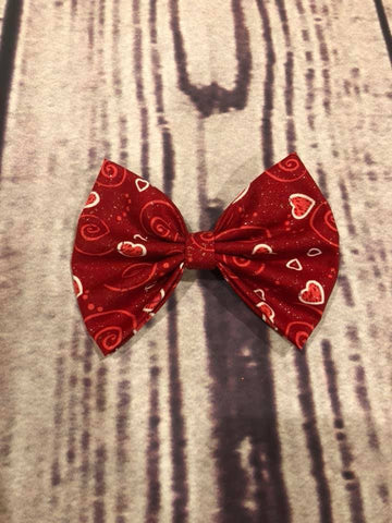 Red Heart Glitter Fabric Bow