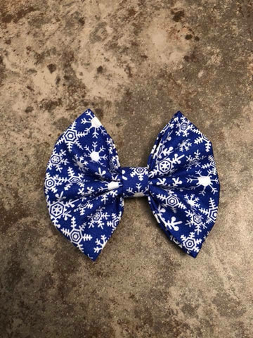 Blue Snowflake Fabric Bow