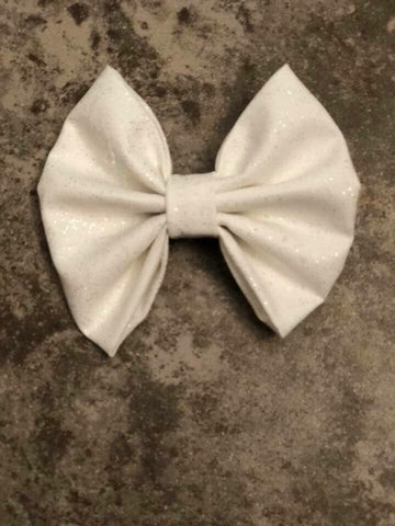 White Shimmer Fabric Bow