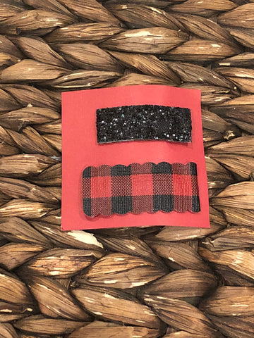 Buffalo Plaid/Black Glitter Snap Clip Set