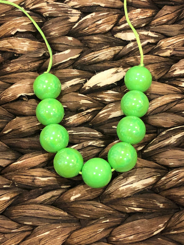 Neon Green Glossy Chunky Bubblegum Necklace