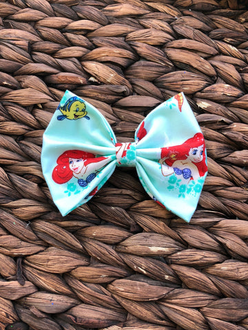 Ariel Inspired 5 inch Fabric Bow