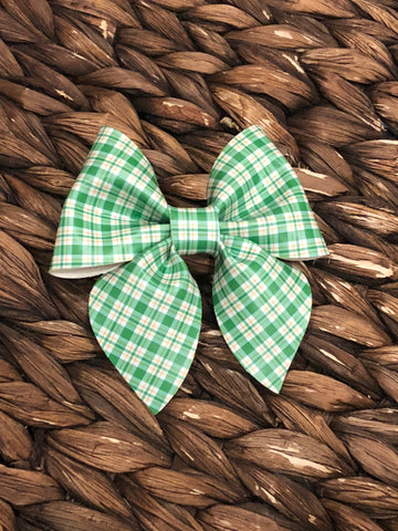 St. Patty's Plaid Fancy Bow