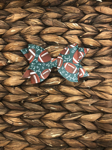 Green Football Faux Leather Elizabeth Bow