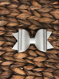 Silver Elizabeth Faux Leather Stacked Bow