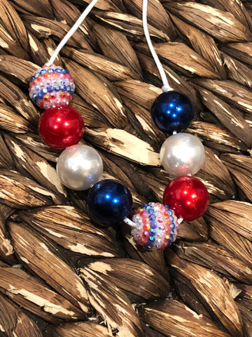 Red, White, Blue Chunky Bubblegum Necklace