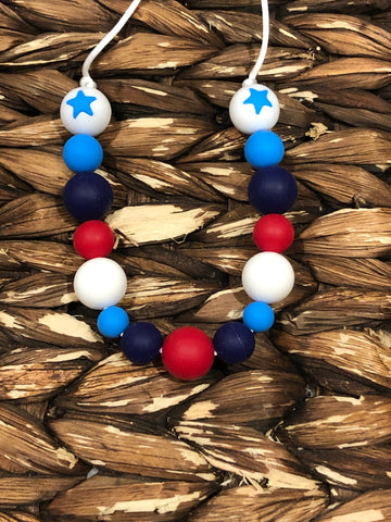 Red, white, blue star Teething Necklace