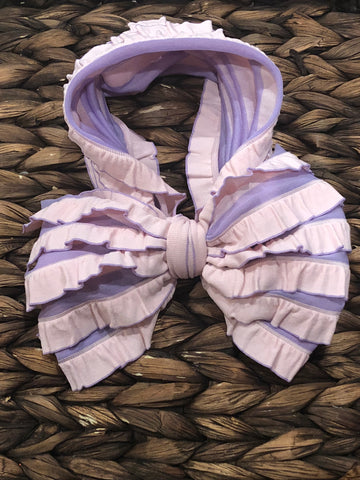 Pink/Purple Striped Messy Bow