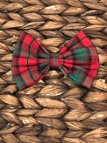 Christmas Plaid Fabric Bow