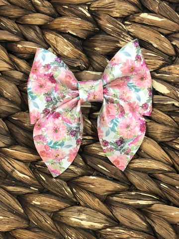 Peach Petal Faux Fancy Bow