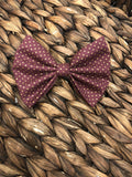 Burgundy Gold Dot Fabric Bow