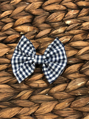 Navy Gingham Fabric Bow