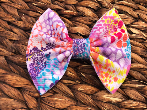 Colorful Cheetah Big Fabric Bow