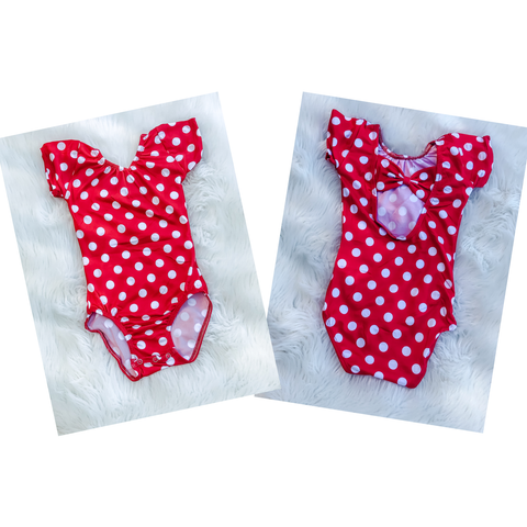 Red with White Polka Dot Bow Back Cap Sleeve Leotard