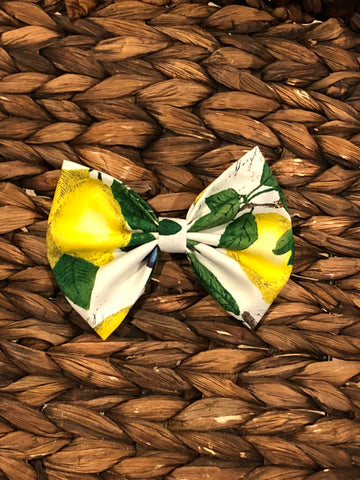Lemon Print Fabric Bow