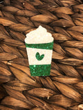 Green Glitter Latte Bow