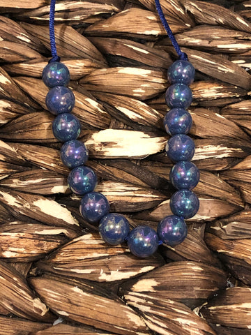 Blue Glossy Small Bead Necklace