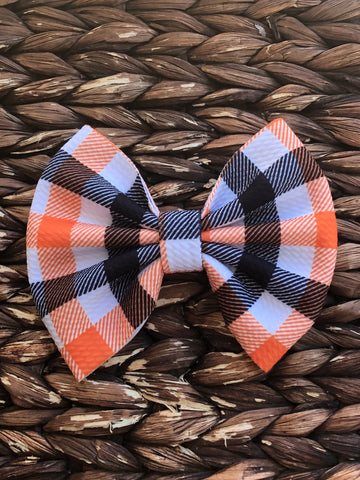 Black/Orange Gingham Big Fabric Bow