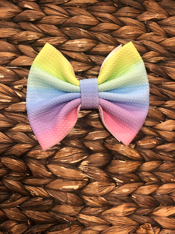 Pastel Striped Rainbow Big Fabric Bow