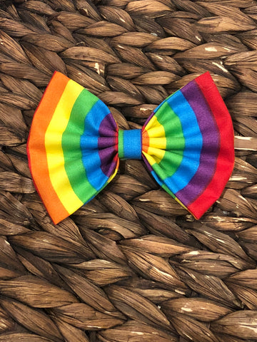 Rainbow Striped Fabric Bow