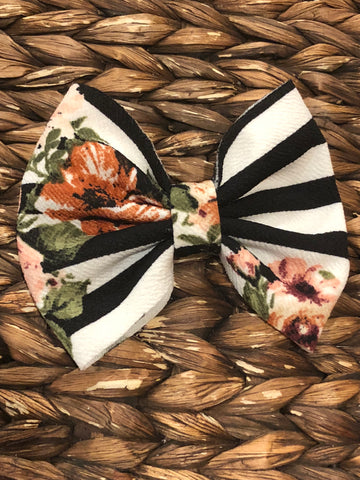 Black/White Striped Floral Big Fabric Bow