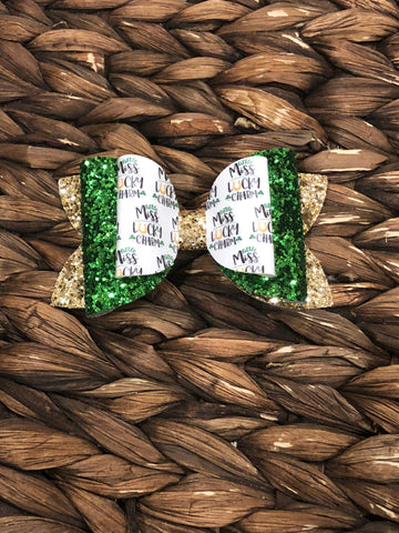 Little Miss Lucky Stacked Glitter Elizabeth Bow