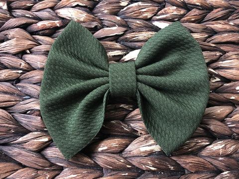 Olive Big Fabric Bow