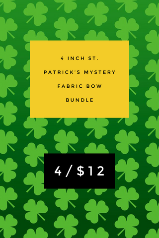 4 inch St. Patrick's Mystery Fabric Bow Bundle