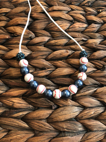Baseball Small bead Bubblegum Necklace
