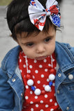 Distressed Stars Fabric Bow