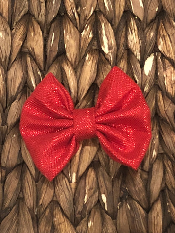 Red Shimmery Fabric Bow