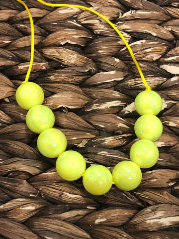 Neon Yellow Glossy Chunky Bubblegum Necklace