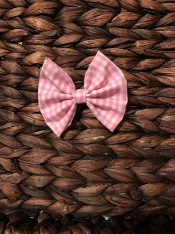 Pink Gingham Fabric Bow
