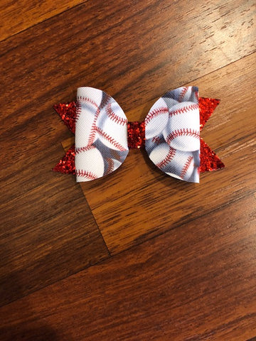 Baseball Elizabeth Glitter/Faux Leather Bow