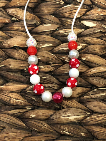 Red/White Small Bead Necklace