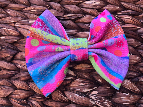 Polka Dot BrushStrokes Big Fabric Bow