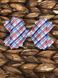 Patriotic Plaid Faux Marie Bow