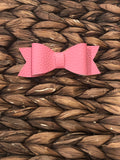 Bubblegum Pink Faux Leather Bow