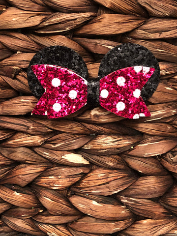 Pink Minnie Inspired Glitter Bow