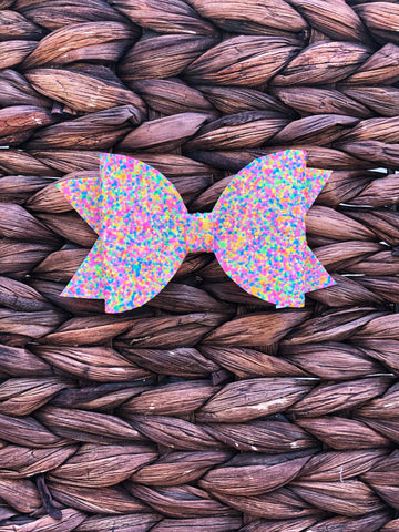Neon Multi Color Glitter Elizabeth Bow