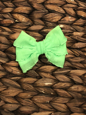 Neon Green Mini Messy Bow