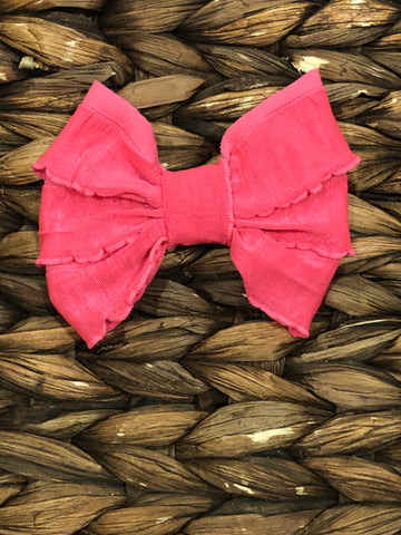 Neon Pink Mini Messy Bow