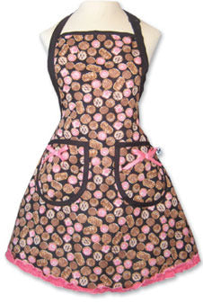 traditional chocolate box apron with pink trim