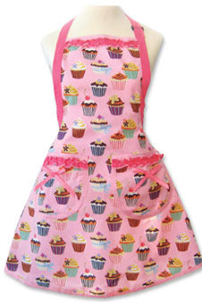 Large frosted cupcake apron in pink with cupcakes and pink frills